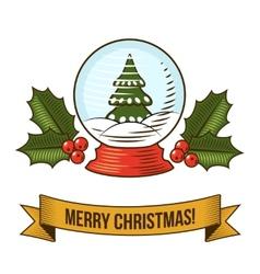 Christmas snow globe icon vector image vector image