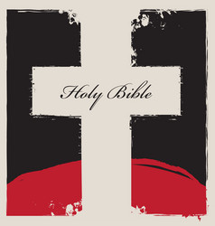 cross on abstract background with words holy bible vector image vector image