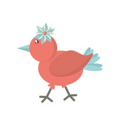 cute bird flower comic icon vector image