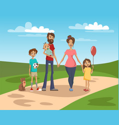 happy family on a background of nature scenery vector image