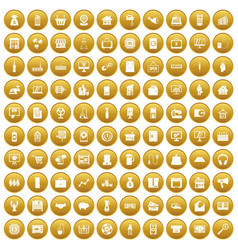 100 sales icons set gold vector