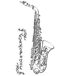 Abstract drawing saxophone vector