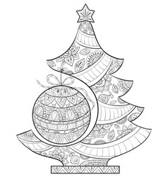 Adult coloring bookpage a christmas fir tree with vector