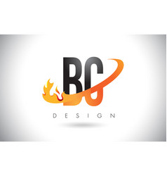 Bc b c letter logo with fire flames design vector