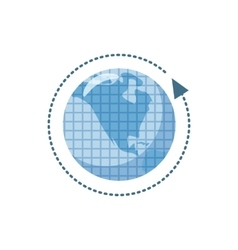 Blue earth and arrow icon cartoon style vector image