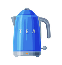 Blue electric kettle household kitchen appliance vector