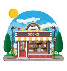bookstore shop exterior books shop brick building vector image