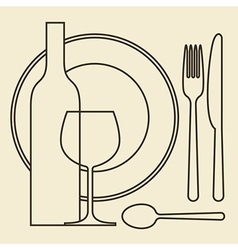 Bottle wineglass plate and cutlery vector image
