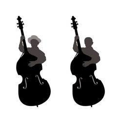 boy standing behind a contrabass vector image