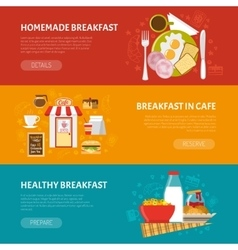 Breakfast Banners Set vector image
