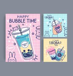 bubble tea banner famous drink asian bubble tea vector image