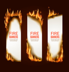 Burning paper vertical banners pages with fire vector