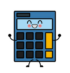 Calculator isolated symbol cute kawaii cartoon vector