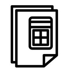 calculator report icon outline style vector image