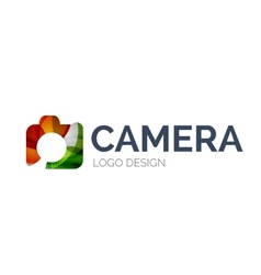 Camera logo design made of color pieces vector image