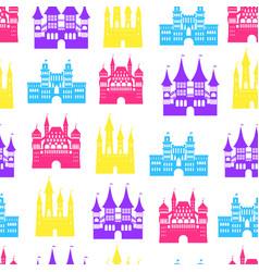 cartoon medieval old castles seamless pattern vector image