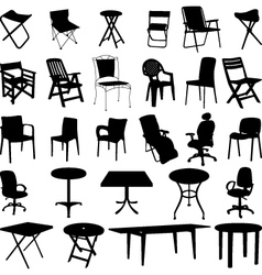 Chair and table silhouette vector