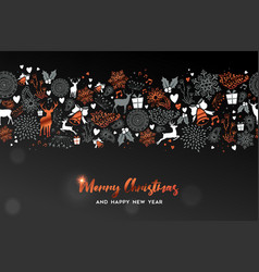 christmas and new year copper deer ornament card vector image
