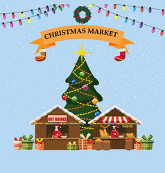 Christmas souvenirs market stall bakery with vector
