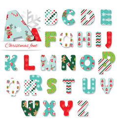 christmas textile font vector image