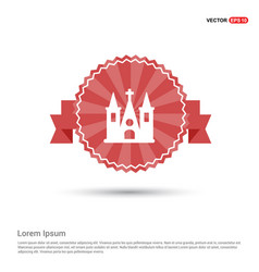 church building icon - red ribbon banner vector image