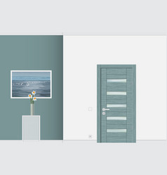 close up of closed modern door interior concept vector image