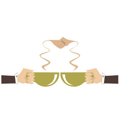 coffee handshake concept isolated vector image