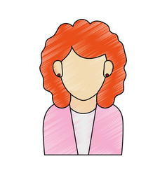 Color pencil half body faceless woman executive vector
