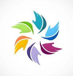colorful circular abstract leaf logo vector image