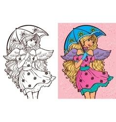 Colouring Book Of Girl With Umbrella vector