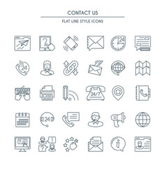 Contact us thin line icons set vector