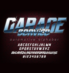 cool automotive typeface vector image
