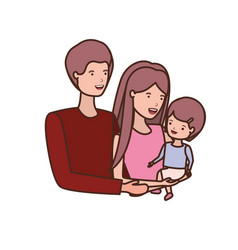 couple of parents with daughter avatar character vector image