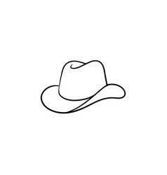 cowboy hat hand drawn sketch icon vector image
