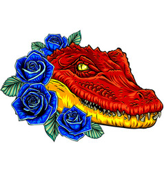 crocodile head with roses vector image
