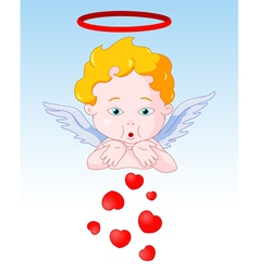 Cupid Blowing Hearts vector image