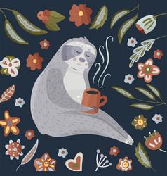 Cute cartoon sloth drinking coffee vector