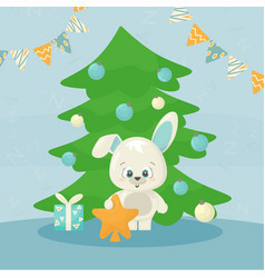 Cute new year 2021 card with happy white bunny vector