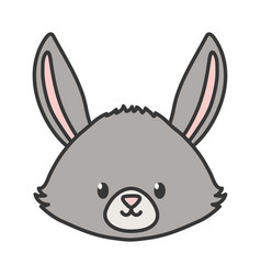 cute rabbit head animal on white background vector image