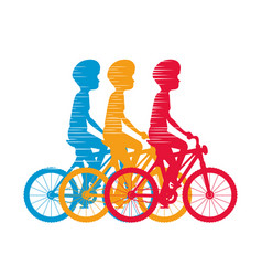 cycling people riding a bicycle vector image