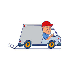 Delivery man driving truck van cartoon vector