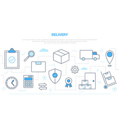 Delivery shipping business concept with icon line vector