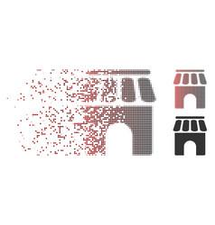 Dissolved pixel halftone shop building icon vector