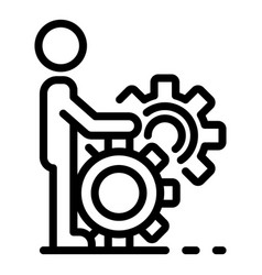 Efficient gear system skill icon outline style vector