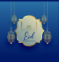 Eid mubarak festival background with hanging vector
