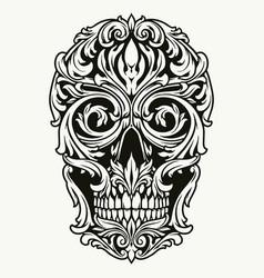 elegant skull traceries on dollar bill vector image