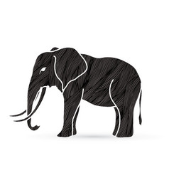 Elephant standing side view vector