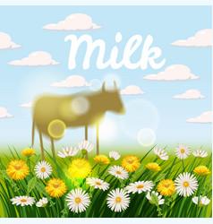 farm landscape with cows cow vector image