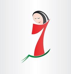 Girl walking number seven no 7 vector