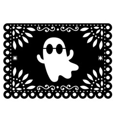 Halloween ghost papel picado design mexican vector